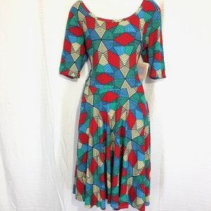 LULAROE NICOLE Print Red Blue Dress Knit NWT sz XL